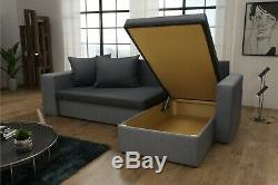 Brand New Corner Sofa Bed With 2 Footstools 2 Storages Fabric and Leather
