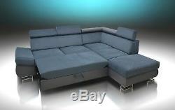 Brand New Corner Sofa Bed'felix' For Everyday Use, Grey Stain Resistant Velvet