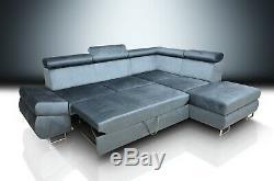 Brand New Corner Sofa Bed'felix'! Large Storage, Grey Stain Resistant Velvet