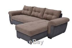 Brand New Corner sofa bed in Brown Soft Fabric. Modern Look