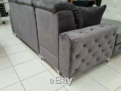 Brand New Designer Plush Velvet Corner Sofa Bed, Corner Settee, Couch Storage