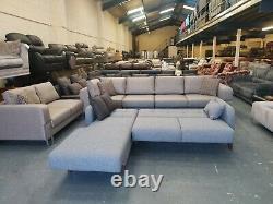 Brand New Ella light grey fabric chaise storage corner sofa bed