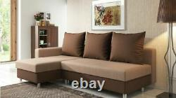 Brand New Fabric Corner Sofa Bed Grey Brown Right Left Handed Bedding Storage