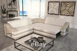 Brand New Fabric / Leather Corner Sofa Bed Hamilton B- Sleep Function Left/right