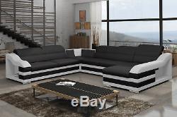 Brand New Fabric / Leather Corner Sofa Bed Hamilton C Storage Box Left/right