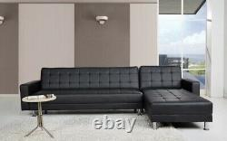 Brand New L Shaped Reversible Corner Sofa bed Black Faux Leather