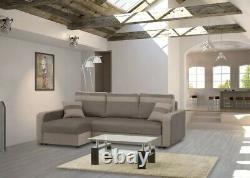Brand New Modernistic Corner Sofa Bed Sleeping + Storage Function Otis
