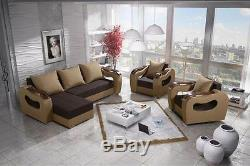 Brand New Set Moderno Corner Sofa Bed With 2 Armchairs Brown