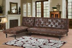 Brand New Vintage L Shaped Corner Sofa Bed Chaise Longue Set Brown Colour