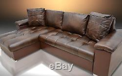 Brown Real Leather Corner Sofa Bed''mike'' Modern Quilting, Colours! Bargain