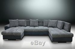 CHAISE CORNER SOFA BED GROUP, ERIC, LARGE BEDDING PLACE, SOFT CUSHIONS, grey