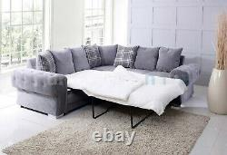 CHESTERFIELD Fernando Corner Sofa Bed with Scatter Cushions grey fabric