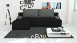 CORNER SOFA BED in Black & Grey /STORAGE free delivery