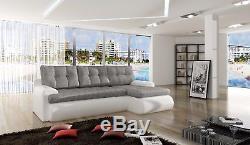 Calasetta faux leather & fabric corner sofa bed settee storage, black grey white