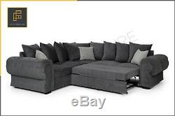 Chesterfield CORNER SOFA BED Formal Full Back or Scatter Cushions Fabric Grey