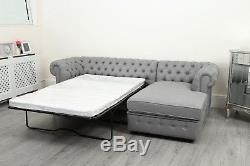 Chesterfield Chaise Corner Sofa Bed Settee PU Leather Crushed Velvet Fabric NEW