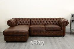 Chesterfield Corner Sofa Dark Tan Leather Air Settee Suite Couch Chais Sofabed