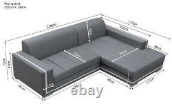 Clearancenew Modern Corner Sofa Bed Indi Grey