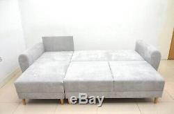 Comfy Corner Sofa Bed, Soft Waffle Fabric, Silver Grey, Scandi Style, Sale
