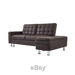 Corner L-shape Ottoman Faux Leather Sofa Bed Settee with Storage&Reclining