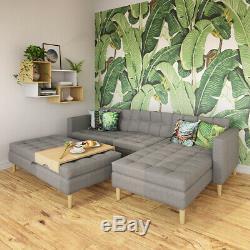 Corner Lounge COPENHAGEN Sofa Bed in Beautiful Savanna Grey Fabric with Ottoman