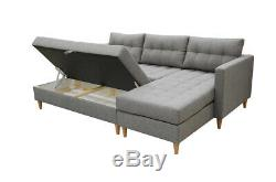 Corner Lounge Corner Sofa Bed with Ottoman Grey Blue Yellow Fabric FREE Assembly