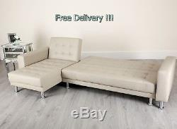 Corner Sofa Bed 4 Seater Comfy Settee Modern Couch Chaise Recliner Guest Sleeper