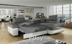 Corner Sofa Bed ANTON P with Storage Container Sleep Function Springs New