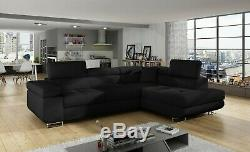 Corner Sofa Bed ANTON with Box and Sleep Function BLACK FAST DELIVERY