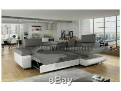 Corner Sofa Bed ANTON with Box and Sleep Function GREY FAST DELIVERY