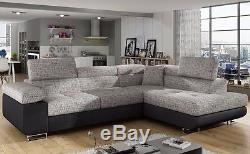 Corner Sofa Bed ANTON with Storage Container and Sleep Function New