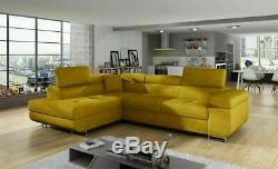 Corner Sofa Bed ANTONY with Storage Container and Sleep Function New