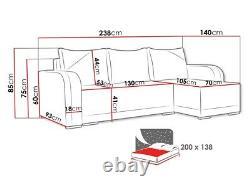 Corner Sofa Bed ARIZONA with Storage Container Universal Corner Side New