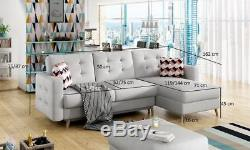 Corner Sofa Bed ASGARD with Storage Container Sleep Function Modern New