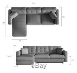 Corner Sofa Bed ASGARD with Storage Container Sleep Function Universal New