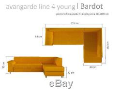 Corner Sofa Bed BARDOT Bargain with Storage Container Sleep Function Fabric New