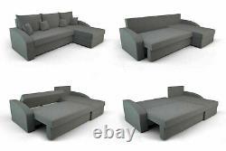 Corner Sofa Bed BERGEN Pink L shaped compact sofa Storage- Sprung seat