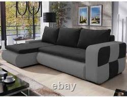 Corner Sofa Bed BRONX Black Grey Modern L shaped compact sofa Storage