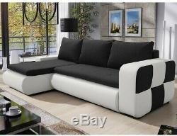 Corner Sofa Bed BRONX Black white Modern L shaped compact sofa Storage