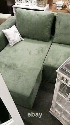 Corner Sofa Bed Bottle Green with Storage Container Sleeping Function New Modern