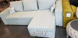 Corner Sofa Bed Creamy Green with Storage Container Sleeping Function New Modern