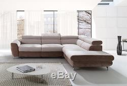 Corner Sofa Bed Cube Fabric or Faux Leather Left or Right Hand