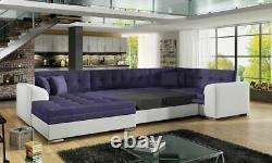 Corner Sofa Bed DAMARIO FAST DELIVERY Sleep Function U Shaped Springs New