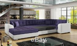 Corner Sofa Bed DAMARIO with Sleep Function Fabric Faux Leather New