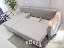 Corner Sofa Bed DIUNA with Storage Container Sleep Function Grey or Brown New