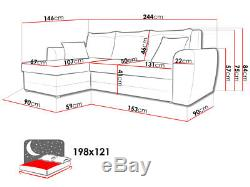 Corner Sofa Bed DOMO with Storage Containers Sleep Function Universal Side New