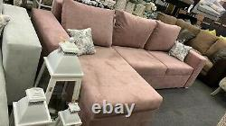 Corner Sofa Bed Dusky Pink with Storage Container Sleeping Function New Modern