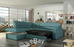 Corner Sofa Bed ELANO with Storage Container and Sleep Function New