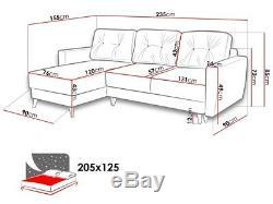 Corner Sofa Bed ETRO with Storage Container Universal Corner Side New