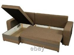 Corner Sofa Bed FANO with 2 Storage Containers Universal Corner Side New